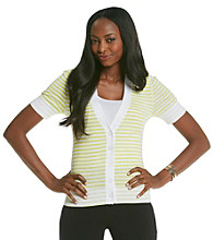 Relativity® Petites' Stripe V-Neck Cardigan