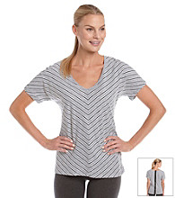 Calvin Klein Performance Stripe Zip-Back Tee