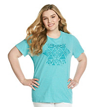 Ruff Hewn Plus Size Crewneck Side Braid Screen Tee