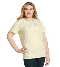 Ruff Hewn Plus Size Crewneck Braid Side Screen Tee