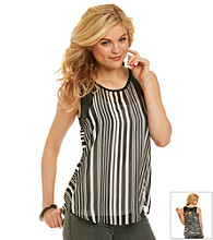 Eyeshadow® Juniors' Stripe Tank with Faux Leather Sleeves