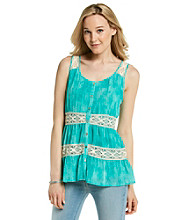 Cupio Scoopneck Button Down Lace Trim Tank