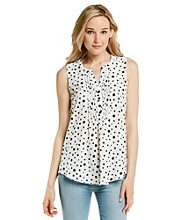 Spense® Y-Neck Pintuck Polka Dot Tank