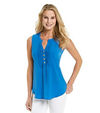 Spense® Y-Neck Solid Pintuck Tank