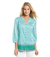 Jones New York Signature® Button Down Geometric Print Blouse