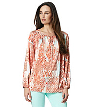Jones New York Signature® Scoopneck Mixed Print Peasant Blouse