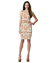 Jones New York Signature® V-Neck Patterned Faux Wrap Dress