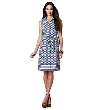 Jones New York Signature® Pocketed Belted Printed Shirt Dress