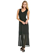 Cupio V-Neck Sheer Bottom Maxi Dress