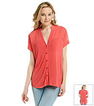August Silk® Y-Neck Button Down Hi-Low Hem Tee