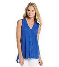 August Silk® V-Neck Button Front Pleated Back Tank