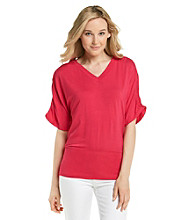 Cable & Gauge V-Neck Solid Ruched Dolman Sleeve Top
