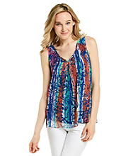 Cupio V-Neck Open Work Crochet Accent Floral Print Tank