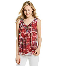 Cupio V-Neck Open Work Crochet Accent Abstract Print Tank