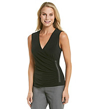Calvin Klein V-Neck Side Zip Wrap Top