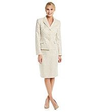 Le Suit® Floral Jacquard Jacket with Skirt