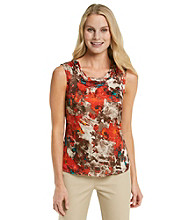 Kasper® Ruched Neck Printed Cami