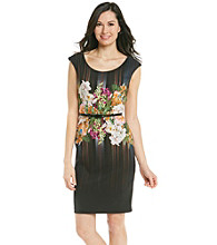 London Times® Floral Print Belted Sheath Dress