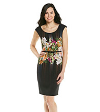 London Times® Petites' Floral Print Belted Sheath Dress