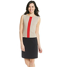 London Times® Colorblock Crepe Sheath Dress