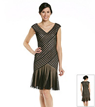 London Times® Diagonal Mesh Dress