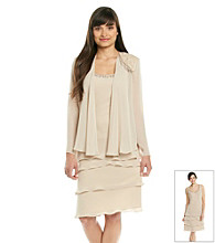 S.L. Fashions Petites' Lace Tiered Jacket Dress