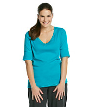 Calvin Klein Performance Plus Size V-Neck Solid Tee