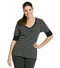Calvin Klein Performance Plus Size Three Color Stripe Tee