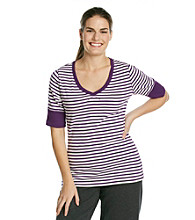 Calvin Klein Performance Plus Size Two Color Stripe Tee