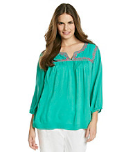 Jones New York Sport® Plus Size Embroidered Neckline Tunic