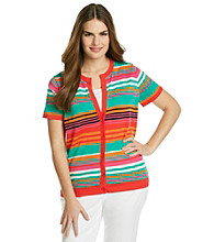 Jones New York Sport® Plus Size Button Front Striped Cardigan