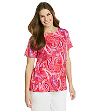 Jones New York Signature® Plus Size Boatneck Printed Top