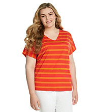Jones New York Sport® Plus Size V-Neck Striped Top