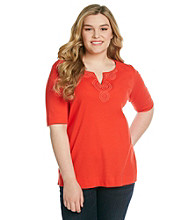 Jones New York Sport® Plus Size Splitneck with Crochet Top