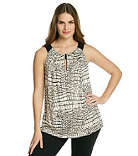 AGB® Plus Size Cleo Neck Printed Top