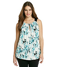 AGB® Plus Size Cleo Neck Abstract Printed Top