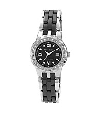 Anne Klein®Metal and Ceramic Women's Watch with Crystal Bezel