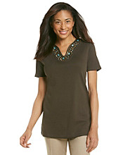 Rafaella® Brown Tee Embellished with Turquoise Beads