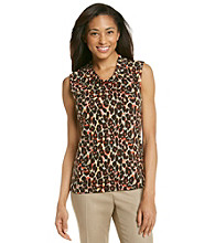 Rafaella® Brown Animal Print Cowlneck Top