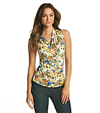 Fever™ White Multi Floral Surplice Top