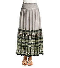 Chaudry® Black Multi Ethnic Print Maxi Skirt