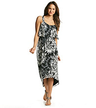 Black Rainn™ Printed High-Low Maxi Dress