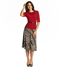 Perceptions Two-Piece Belted Top and Skirt Set