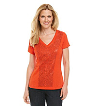 Rafaella® Petites' V-Neck Tee with Sequins