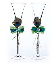 Lillian Rose® Peacock Glass Set
