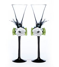 Lillian Rose® Green and Black Toasting Flutes