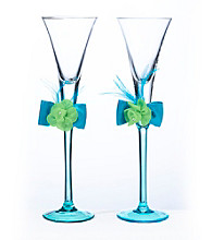 Lillian Rose® Blue and Green Toasting Flutes