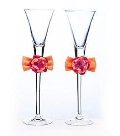 Lillian Rose® Hot Pink and Orange Toasting Flutes