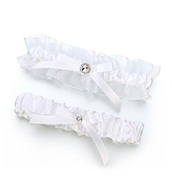 Lillian Rose® White Satin Rhinestone Garter Set