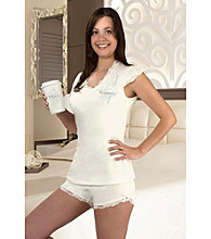 Lillian Rose® Brides Ivory Lace Pajama Set